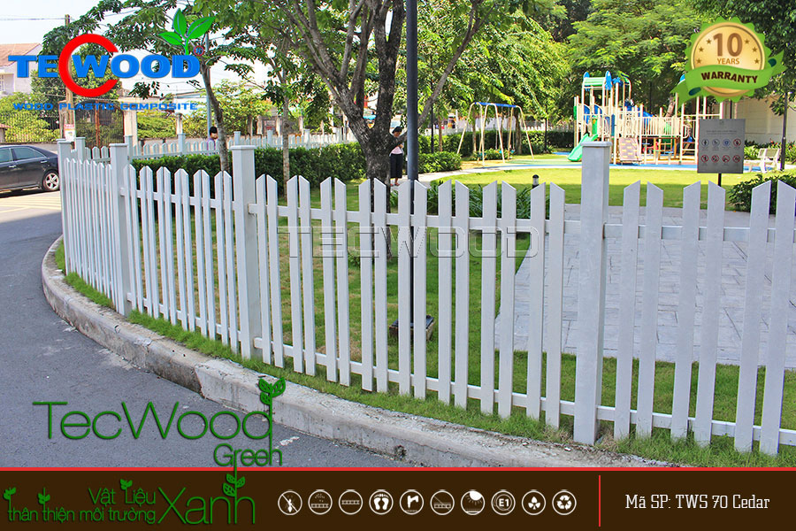 thiết kế hàng rào gỗ nhựa tại Lavita Garden