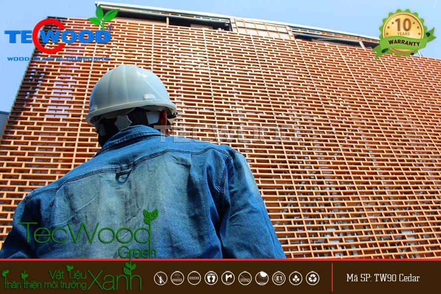 thi công lắp đặt lam gỗ nhựa ngoài trời