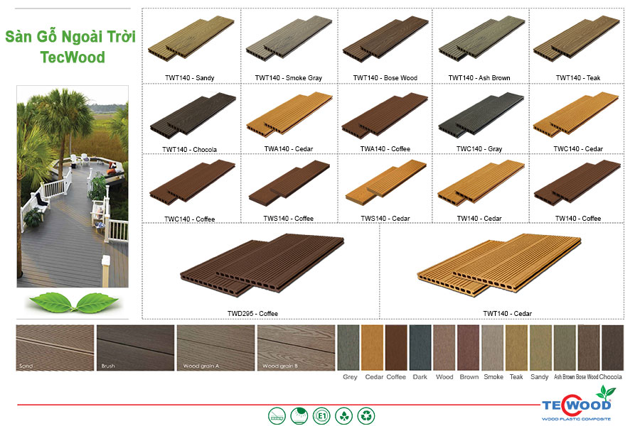Bảng màu sàn gỗ ngoài trời TecWood