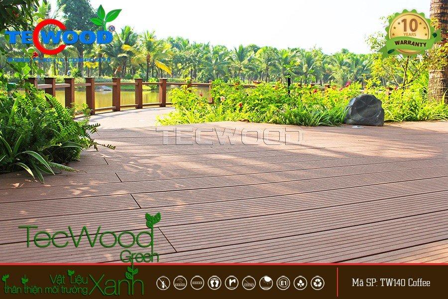 Lót sàn gỗ ngoài trời cho không gian view sông tại dự án Ecopark Grand