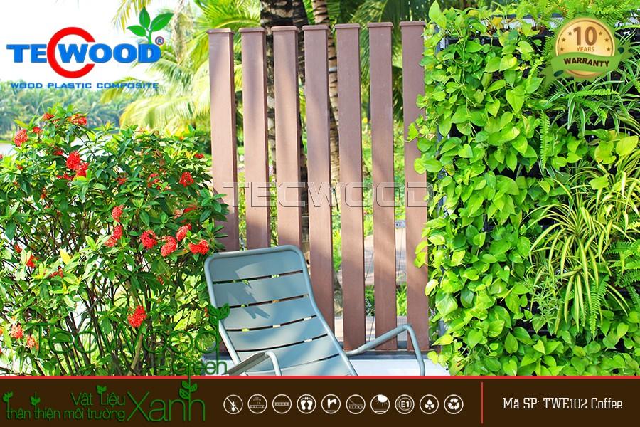 Hàng rào làm bằng trụ cột gỗ nhựa tổng hợp TecWood