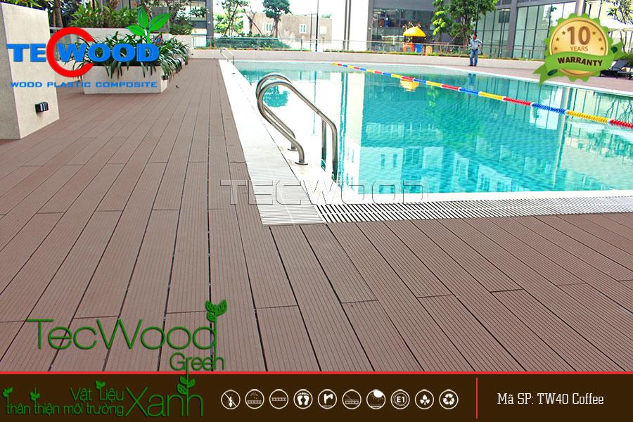 Không gian hồ bơi được lót sàn gỗ TecWood tại dự án Florita, Quận 7