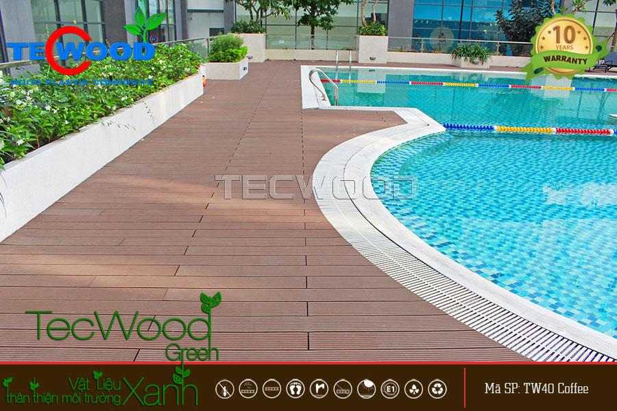 Sàn gỗ hồ bơi chống chịu nước tốt, độ bền cao