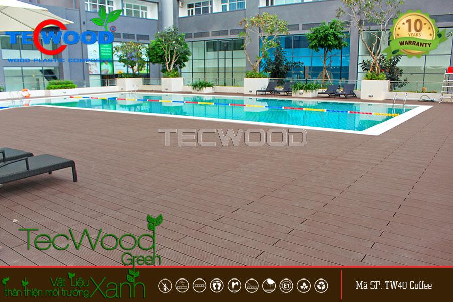 Hình ảnh tổng quan sàn gỗ lót hồ bơi thương hiệu TecWood