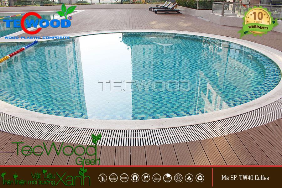 Sàn gỗ TW140 màu coffee TecWood dùng lót hồ bơi chung cư cao cấp