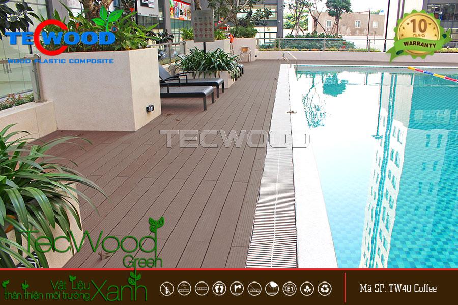 Hồ bơi chung cư cao cấp lót sàn gỗ ngoài trời TecWood
