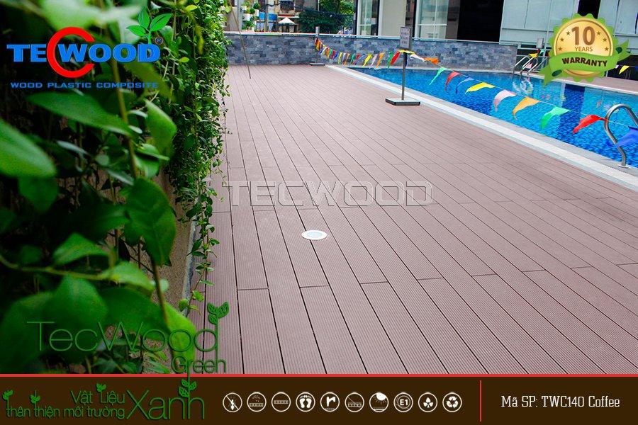 Sàn gỗ TecWood lót hồ bơi dự án Sky Center, Tân Bình