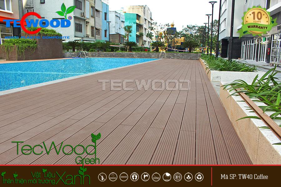 Không gian hồ bơi cao ốc An Lạc trở nên đẳng cấp nhờ sàn gỗ TecWood