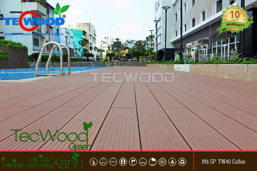 Cận cảnh sàn gỗ ngoài trời TecWood tại dự án cao ốc An Lạc, Bình Tân