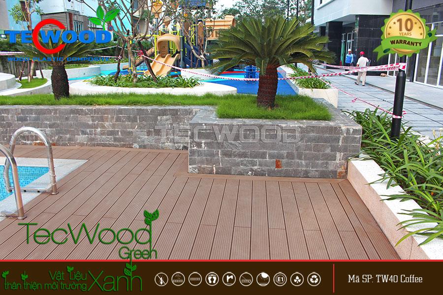 Một góc sàn gỗ hồ bơi cao cấp thương hiệu TecWood tại An Lạc, Bình Tân