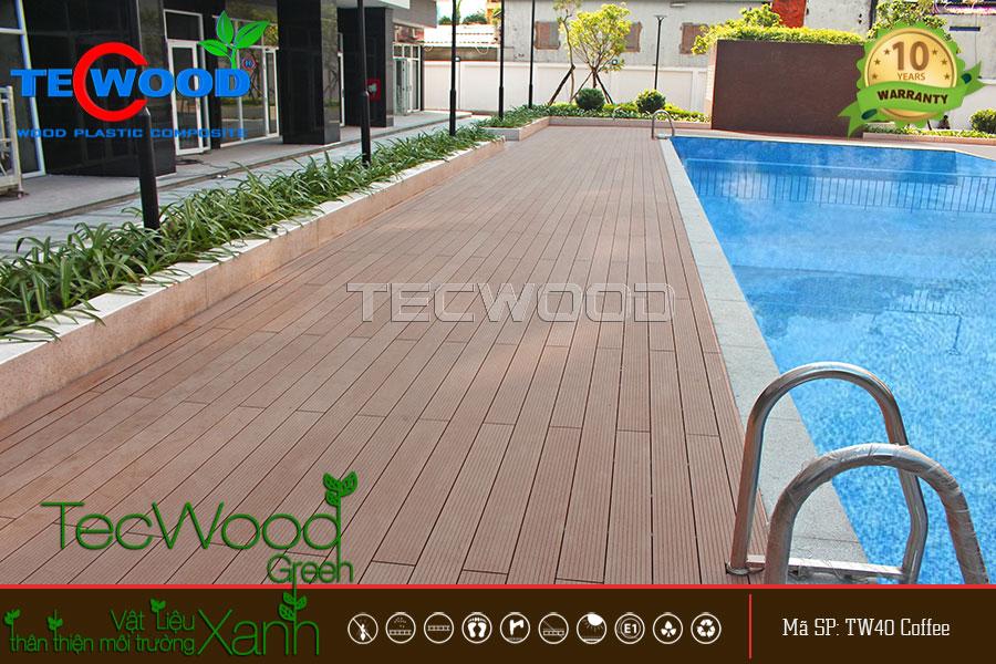 Sàn gỗ TW140 màu coffee lót sàn hồ bơi cao ốc An Lạc