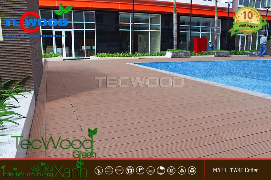 Sàn gỗ hồ bơi giúp không gian cao ốc thêm đẳng cấp và sang trọng