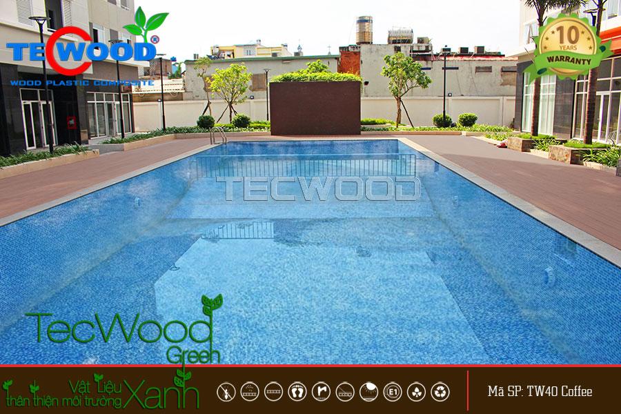 Ảnh tổng quan không gian sàn gỗ hồ bơi TecWood