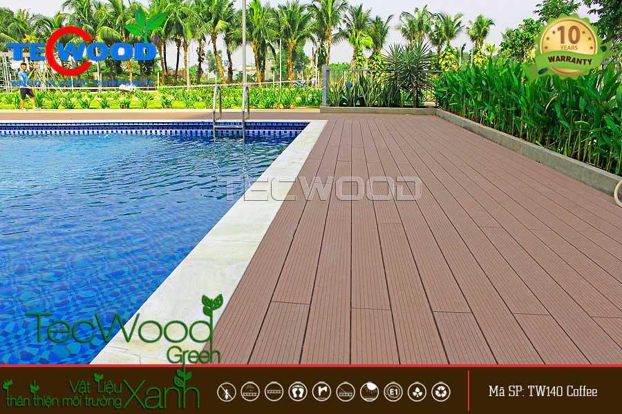 Chung cư 4S, Thủ Đức lót sàn hồ bơi bằng gỗ nhựa TecWood