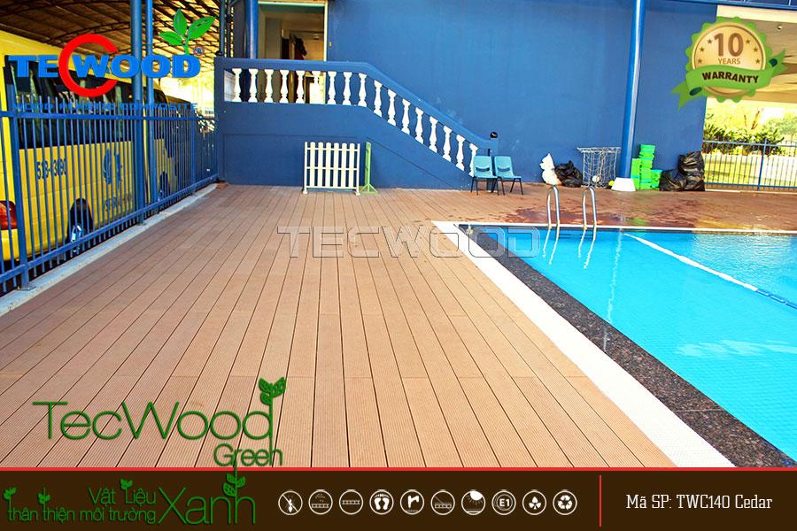 Sàn gỗ ngoài trời TWC140 lót hồ bơi trường Sao Việt, Quận 7