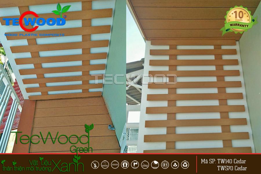 Khung gỗ nhựa TecWood dùng trang trí ban công
