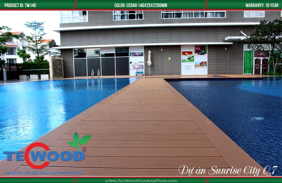 Sàn gỗ ngoài trời lát sàn hồ bơi