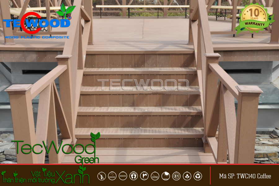Cầu thang bằng gỗ nhựa điểm nhấn cho không gian thêm tầm đẳng cấp