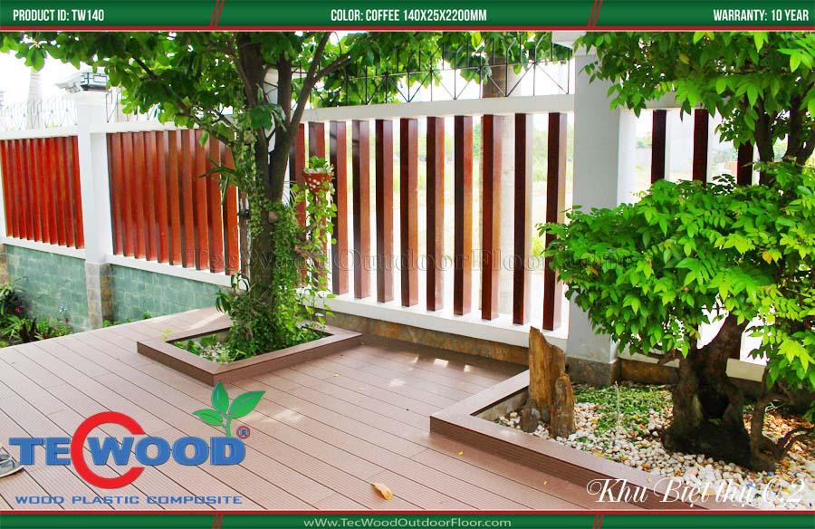Sàn gỗ ngoài trời làm chậu cây cảnh 2