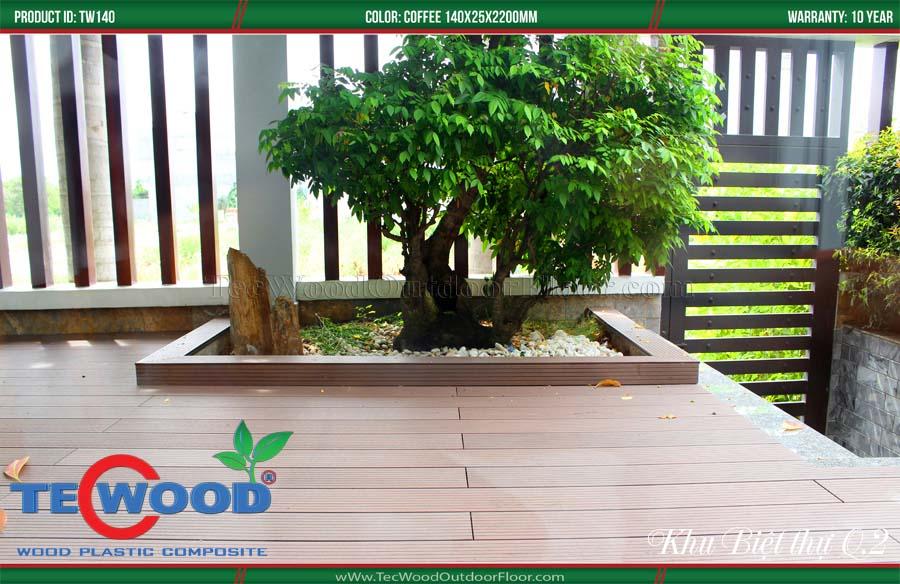 Sàn gỗ ngoài trời làm chậu cây cảnh 4