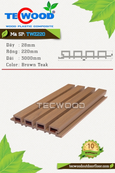 Tấm ốp TecWood TWZ220-Brown Teak