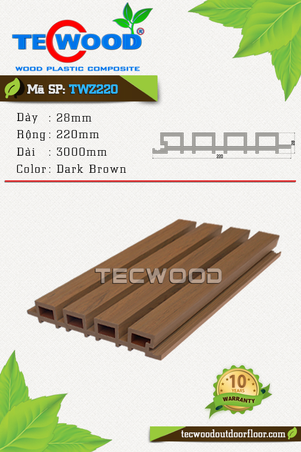 Tấm ốp TecWood TWZ220-Dark  Brown